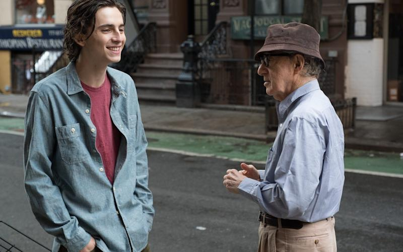 Woody Allen on the set of A Rainy Day in New York with Timothée Chalamet - Jessica Miglio