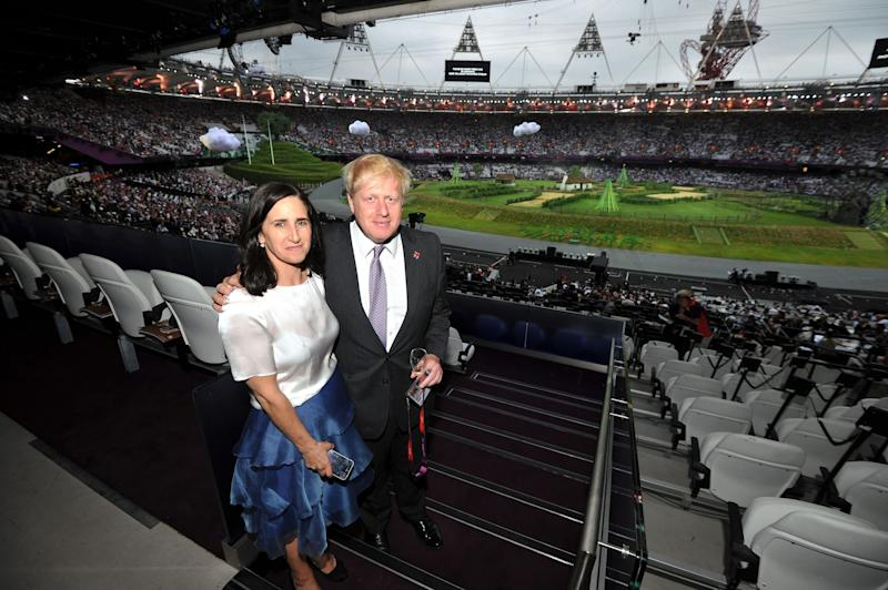 Then Mayor of London Johnson and his wife Marina Wheeler arrive for the start of the Olympic Games 2012 Opening Ceremony in 2012.