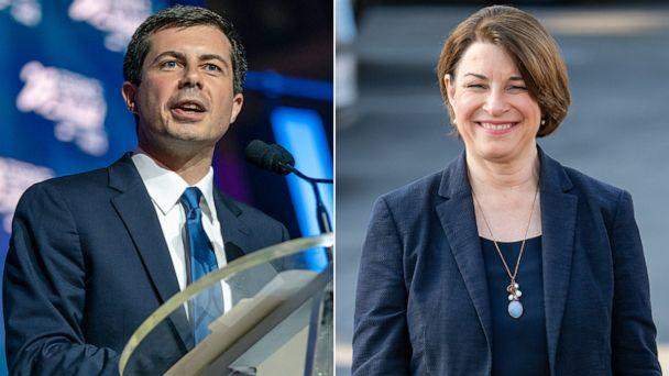 PHOTO: Mayor Pete Buttigieg speaks at the 25th Essence Festival, July 7, 2019, in New Orleans. Senator Amy Klobuchar is seen at 'Jimmy Kimmel Live' on May 28, 2019 in Los Angeles. (Getty Images)