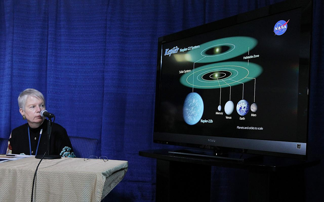 """MOFFETT FIELD, CA - DECEMBER 05:  Jill Tarter, director of the Center for SETI Research looks at a graphic showing the newly discovered planet Kepler-22b during a news conference at the NASA Ames Research Center on December 5, 2011 in Moffett Field, California.  Scientsts with NASA's Kepler mission announced that they discoverd a planet in the """"habitable zone"""" where water could exist on the planet's surface. The newly confirmed planet is being called Kepler-22b and is approximately 2.4 times the radius of earth and orbits a star similar to the earth's sun.  (Photo by Justin Sullivan/Getty Images)"""