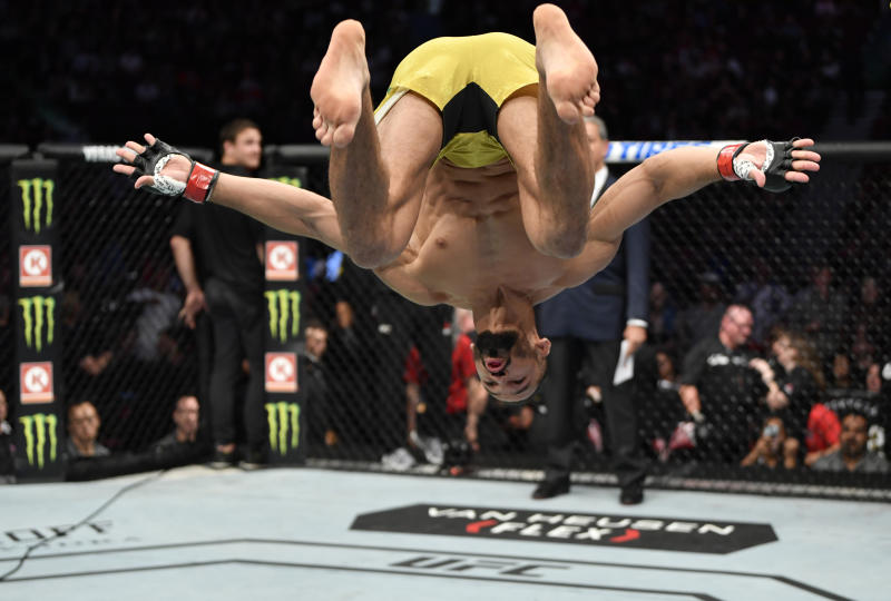 VANCOUVER, BRITISH COLUMBIA - SEPTEMBER 14: Michel Pereira of Brazil prepares to fight Tristan Connelly of Canada in their welterweight bout during the UFC Fight Night event at Rogers Arena on September 14, 2019 in Vancouver, Canada. (Photo by Jeff Bottari/Zuffa LLC/Zuffa LLC)