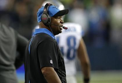Jim Caldwell reacts as officials ruled a touchback on a fumble by Calvin Johnson. (AP)