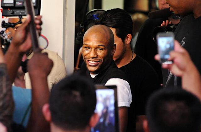 LAS VEGAS, NV - APRIL 17: Boxer Floyd Mayweather Jr. attends a work out session at the Mayweather Boxing Club on April 17, 2013 in Las Vegas, Nevada. Mayweather Jr. will fight Robert Guerrero for the WBC welterweight title at the MGM Grand Garden Arena on May 4, 2013. (Photo by Bryan Haraway/Getty Images)