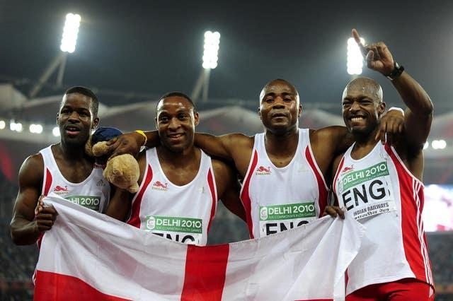 Mark Lewis-Francis (second from right) won 4x100 metres relay gold at the 2010 Commonwealth Games in Delhi (John Giles/PA).