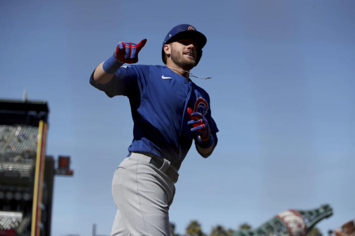 Chicago Cubs' Patrick Wisdom celebrates a two-run home run in the second inning of the team's baseball game against the San Francisco Giants on Saturday, June 5, 2021, in San Francisco. (AP Photo/Scot Tucker)