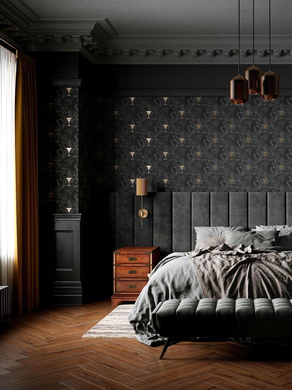 """<p>Looking for a luxe grey bedroom idea? Keep it dark and moody with patterned wallpaper, sumptuous velvets, and metallic accents. The wood flooring brings warmth to this bedroom scheme.</p><p>Pictured: <a href=""""https://divinesavages.com/collections/cat-titude/products/cat-titude-savage-shade"""" rel=""""nofollow noopener"""" target=""""_blank"""" data-ylk=""""slk:Cat-titude 'Savage Shade' wallpaper, Divine Savages"""" class=""""link rapid-noclick-resp"""">Cat-titude 'Savage Shade' wallpaper, Divine Savages</a></p>"""