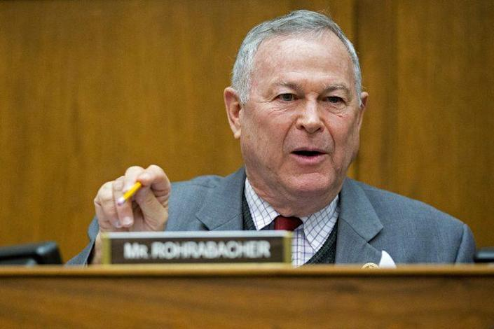 Rep. Dana Rohrabacher, a Republican from California, questions Retired General John Allen, the special presidential envoy for the global coalition against Islamic State, not pictured, in Washington, D.C., March 26, 2015. (Photo: Andrew Harrer/Bloomberg via Getty Images)