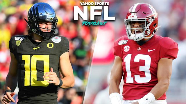 Terez Paylor and Charles Robinson debate the merits of Oregon's Justin Herbert and Alabama's Tua Tagovailoa on the latest Yahoo Sports NFL Podcast. (Photos L to R by: Brian Rothmuller/Icon Sportswire via Getty Images, Todd Kirkland/Getty Images)