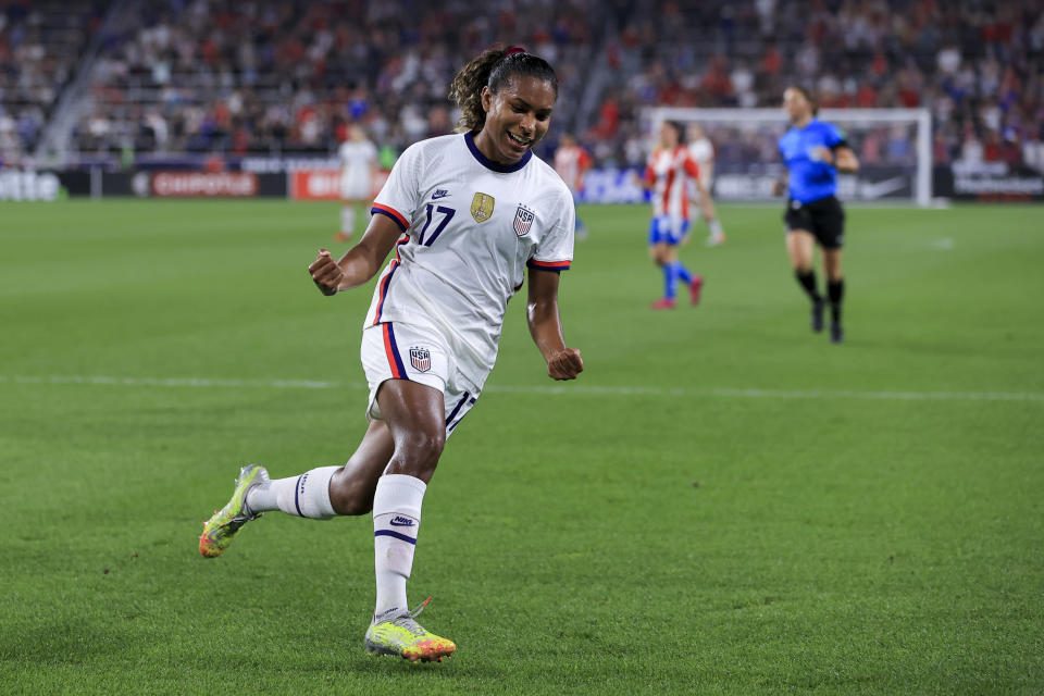 United States midfielder Catarina Macario celebrates scoring a goal during the first half of an international friendly soccer match against Paraguay, Tuesday, Sept. 21, 2021, in Cincinnati. (AP Photo/Aaron Doster)