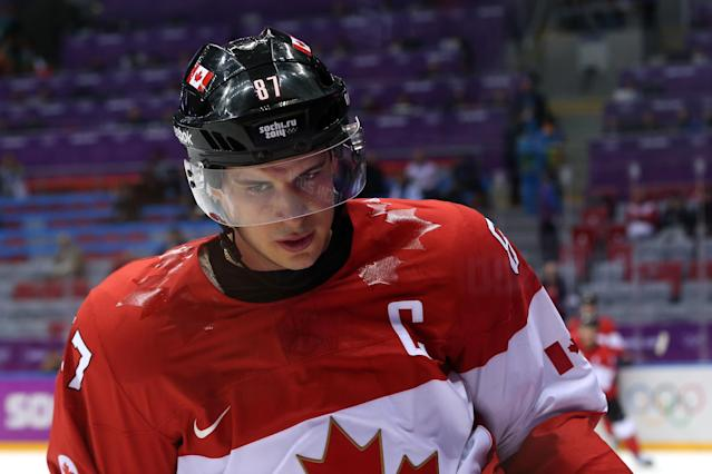 SOCHI, RUSSIA - FEBRUARY 21: Sidney Crosby #87 of Canada skates in warm ups before the Men's Ice Hockey Semifinal Playoff against the United States on Day 14 of the 2014 Sochi Winter Olympics at Bolshoy Ice Dome on February 21, 2014 in Sochi, Russia. (Photo by Bruce Bennett/Getty Images)