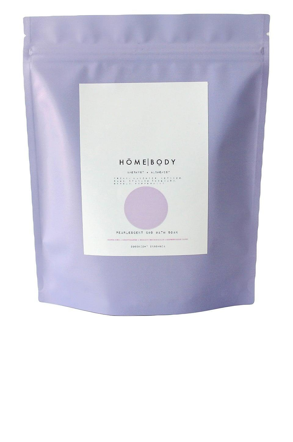 <p>If you experience body pains, treat yourself to a relaxing and peaceful bath with the <span>Homebody Amethyst and Alchemist Pearlescent CBD Bath Soak</span> ($42).</p>
