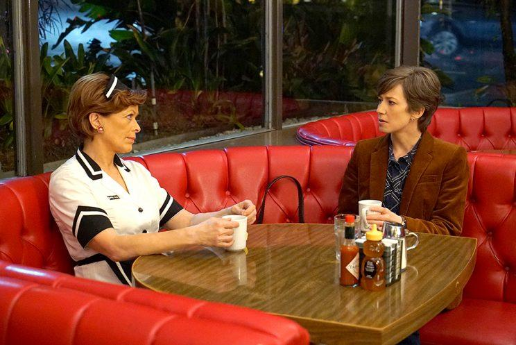 Frances Fisher as Vivian Lord, Carrie Coon as Gloria Burgle in FX's Fargo.