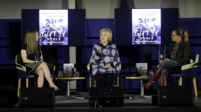 Actress and singer Vanessa Williams interviews Hillary and Chelsea Clinton at Pace University in Pleasantville Dec 18, 2019. The event was held to promote the book ÒThe Book of Gutsy WomenÓ that Hillary and Chelsea Clinton have just published.
