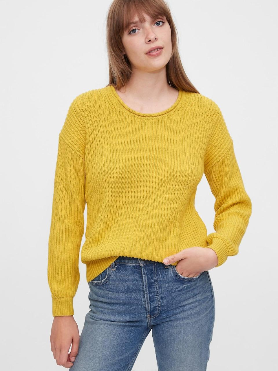 <p>This <span>Gap Relaxed Rollneck Shaker Sweater</span> ($34) is perfect for layering, over a t-shirt turtleneck or a collared shirt!</p>