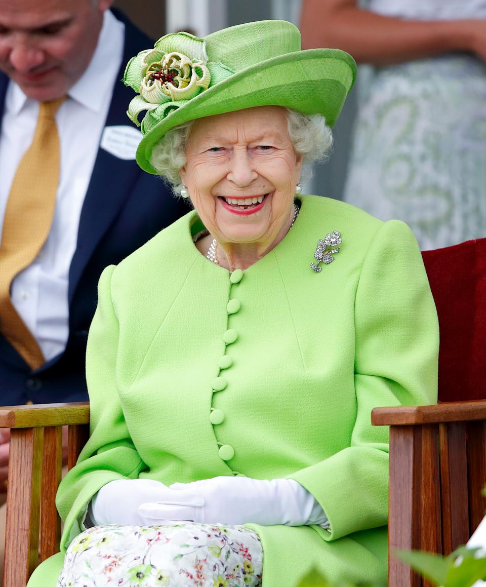 Queen Elizabeth II attends the Out-Sourcing Inc. Royal Windsor Cup polo match and a carriage driving display by the British Driving Society at Guards Polo Club, Smith's Lawn on July 11, 2021 in Egham, England. (Photo by Max Mumby/Indigo/Getty Images)