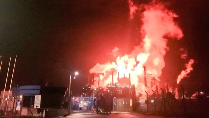Chemical plant bosses apologise after flaring lights up sky