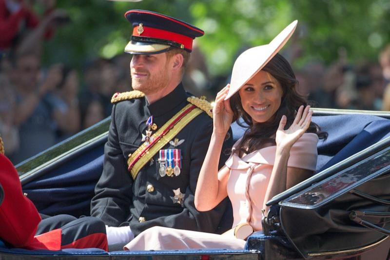 P11XP2 Prince Harry and Meghan Markle (Duke and Duchess of Sussex) at the Trooping the Colour in London on June 9th 2018. The Duke and Duchess of Sussex have joined the Queen for the Trooping the Colour parade to mark her 92nd birthday. Print Harry and Meghan Markle, who married last month, arrived as part of the carriage procession. Large crowds of spectators gathered to watch Saturday's ceremony, which saw around 1,000 soldiers march to Horse Guards Parade in Whitehall.