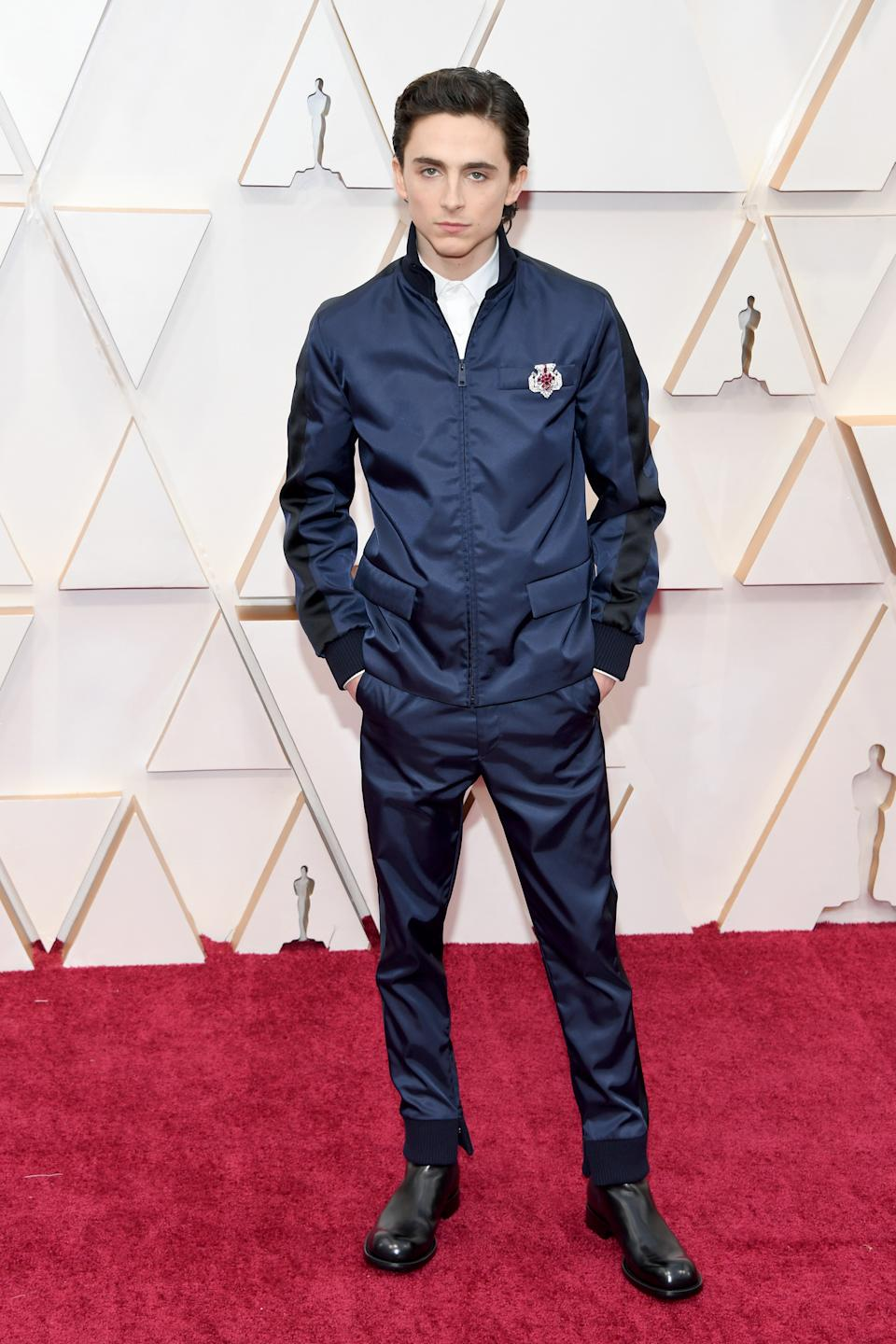 """The """"Little Women"""" star and red carpet risk taker opted for an athletic-inspired ensemble by Prada."""