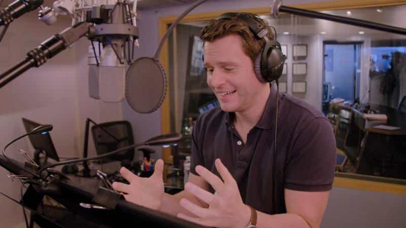 Jonathan Groff recording his role as Kristoff from 'Into the Unknown: Making Frozen 2'. (Credit: Disney+)