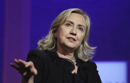 Secretary of State Hillary Clinton speaks during the closing plenary of the Clinton Global Initiative in New York