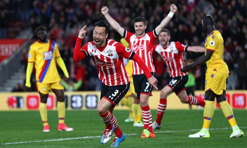 Southampton's Maya Yoshida celebrates scoring their second goal.