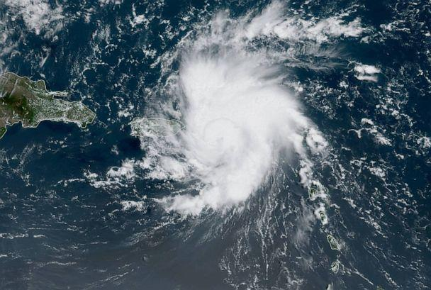 PHOTO: Tropical Storm Dorian bears down on Puerto Rico in a satellite image from NOAA captured on Aug. 28, 2019. (NOAA)