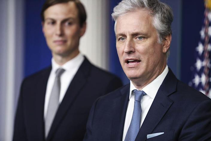 """<div class=""""inline-image__caption""""> <p>Robert O'Brien, national security adviser, and Jared Kushner speak at the White House on Aug. 13.</p> </div> <div class=""""inline-image__credit""""> Getty Images </div>"""