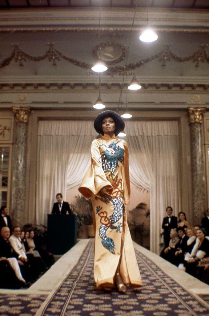 <p>Diana Ross wore a sequence of gorgeous gowns while starring as aspiring fashion designer and model Tracy in <em>Mahogany</em>. But it's this silk peach-colored gown with embroidery and embellishments that still stands out all these years later. </p>