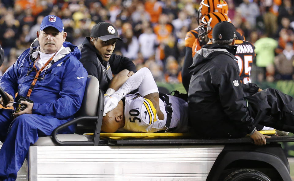 Pittsburgh Steelers linebacker Ryan Shazier suffered a spinal injury early in Monday night's game against the Bengals. (AP)