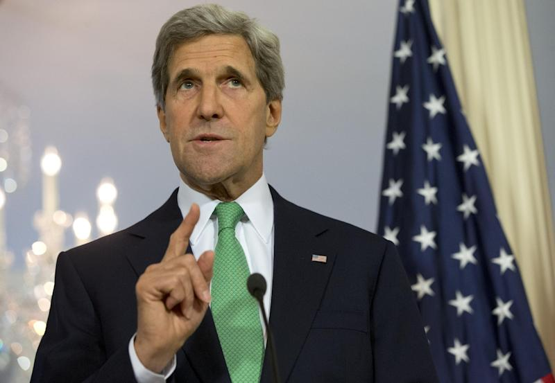Secretary of State John Kerry gestures as he answers a question during a joint news conference with Polish Foreign Minister Radoslaw Sikorski, Monday, June 3, 2013, at the State Department in Washington. On Monday, Kerry said the Obama administration is very concerned about Turkey's crackdown on protestors and is urging authorities to exercise restraint and all sides to refrain from violence.  (AP Photo/Jacquelyn Martin)