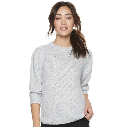 """<p>""""Icy pastels are so big for Fall and Winter this year. I love the soft blue tone of this <a href=""""https://www.popsugar.com/buy/POPSUGAR-Puff-Sleeve-Sweater-506634?p_name=POPSUGAR%20Puff-Sleeve%20Sweater&retailer=kohls.com&pid=506634&price=50&evar1=fab%3Auk&evar9=46808456&evar98=https%3A%2F%2Fwww.popsugar.com%2Ffashion%2Fphoto-gallery%2F46808456%2Fimage%2F46808457%2FPOPSUGAR-Puff-Sleeve-Sweater&prop13=api&pdata=1"""" rel=""""nofollow"""" data-shoppable-link=""""1"""" target=""""_blank"""" class=""""ga-track"""" data-ga-category=""""Related"""" data-ga-label=""""https://www.kohls.com/product/prd-3909273/womens-popsugar-puff-sleeve-sweater.jsp?color=Bridal%20Rose&amp;prdPV=5"""" data-ga-action=""""In-Line Links"""">POPSUGAR Puff-Sleeve Sweater</a> ($50) and the adorable volume detail on the sleeve.""""</p>"""