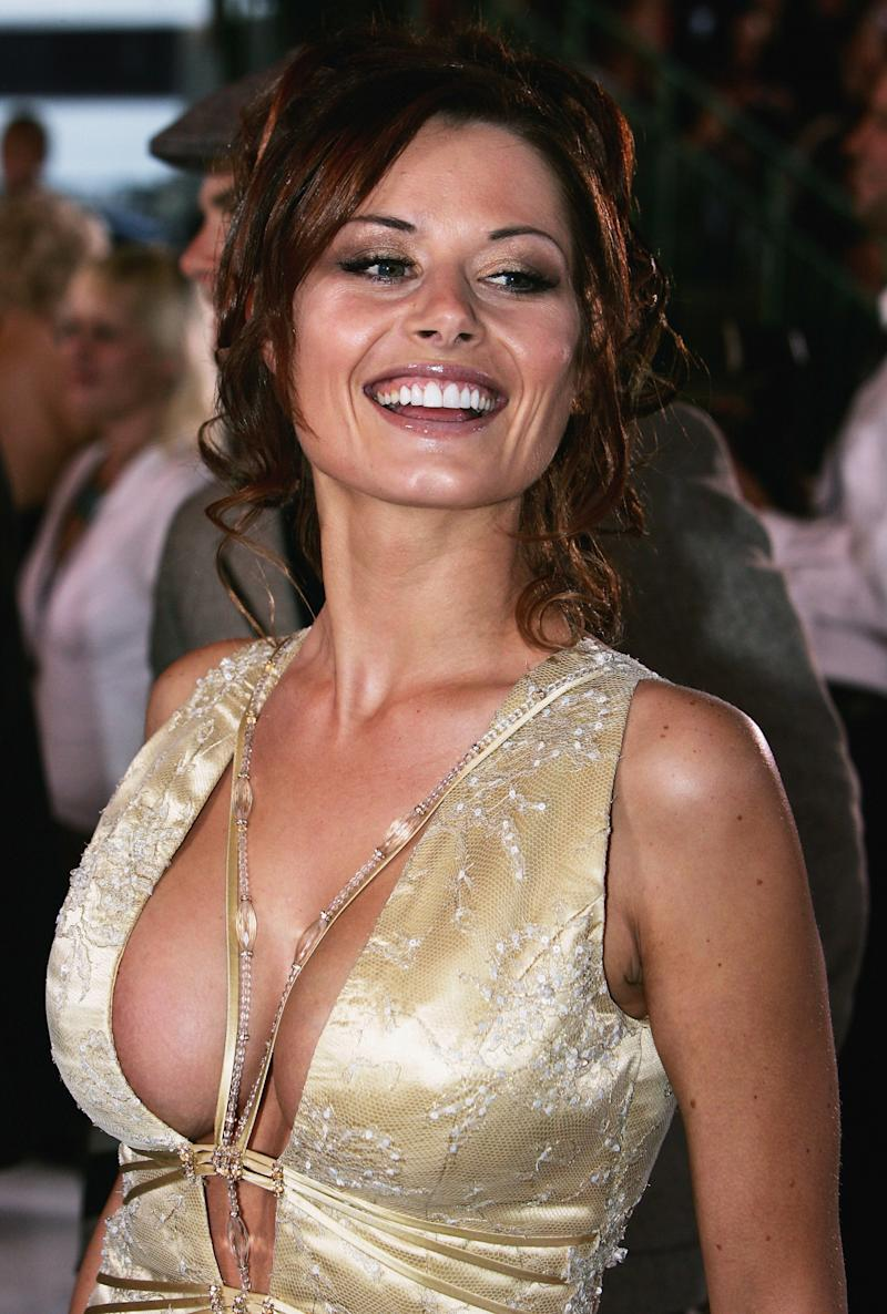 Neighbours star Madeleine West at the 2005 Logie Awards in gold dress