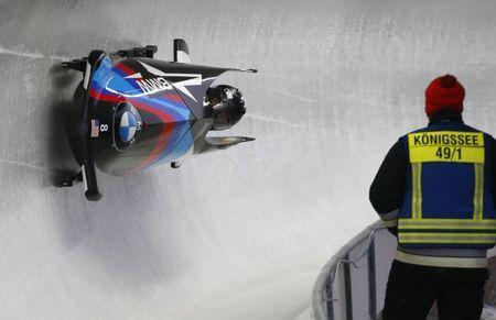 Bobsleigh - BMW IBSF Bob & Skeleton World Championships - Women Bobsleigh second heat - Koenigssee, Germany - 17/2/17 - Elana Meyers Taylor and Kehri Jones of the U.S. in action. REUTERS/Arnd Wiegmann