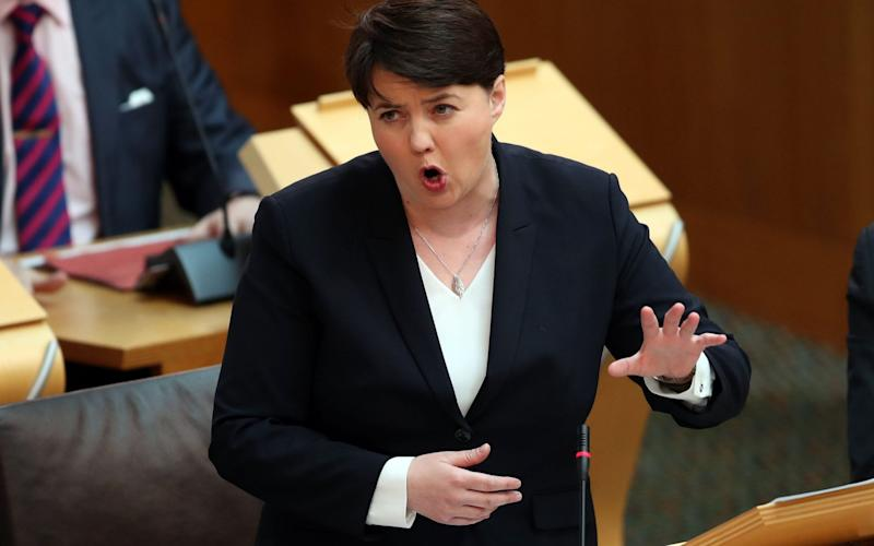 Scottish Conservative party leader Ruth Davidson during First Minister's Questions at the Scottish Parliament - Credit: PA