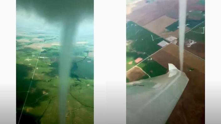 Close up footage of a landspout tornado from the air, in Oklahoma.