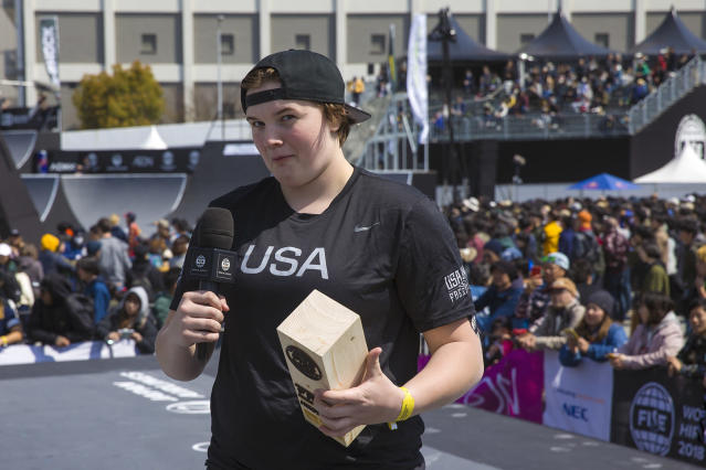 This April 2018 photo provided by USA Cycling shows Hannah Roberts speaking at the UCI Freestyle BMX World Cup in Hiroshima, Japan. The 16-year-old Roberts, already one of the best BMX freestyle riders in the world, is helping blaze a trail for women in the Olympics. (Kyle Carlson/USA Cycling via AP)