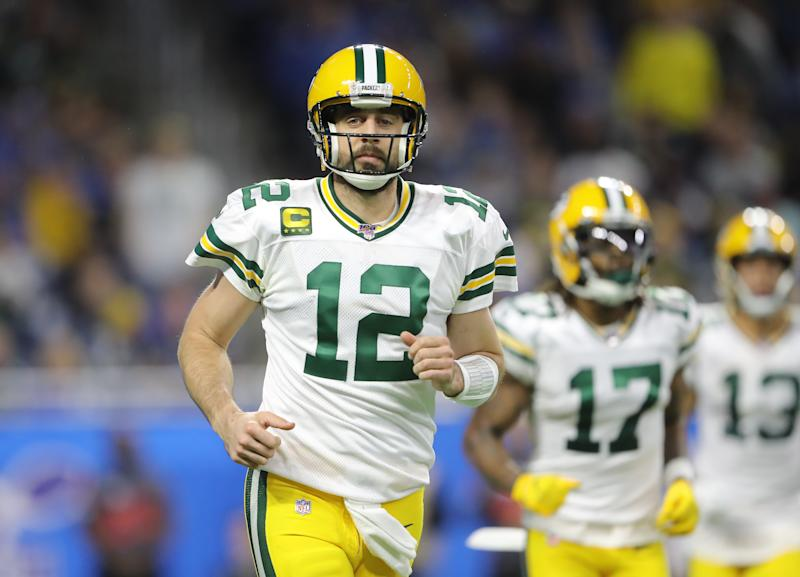 Aaron Rodgers overcame a miserable first half to drag the Packers to a win. (Photo by Rey Del Rio/Getty Images)