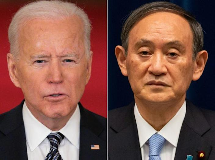 US President Joe Biden (left) will meet Japan's Prime Minister Yoshihide Suga as his first foreign leader guest to the White House