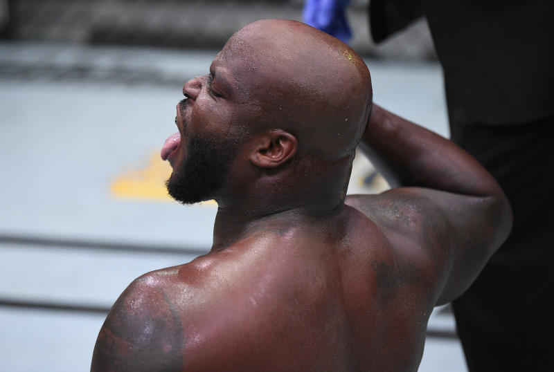 LAS VEGAS, NEVADA - AUGUST 08: Derrick Lewis reacts after his knockout over Aleksei Oleinik of Russia in their heavyweight fight during the UFC Fight Night event at UFC APEX on August 08, 2020 in Las Vegas, Nevada. (Photo by Chris Unger/Zuffa LLC)
