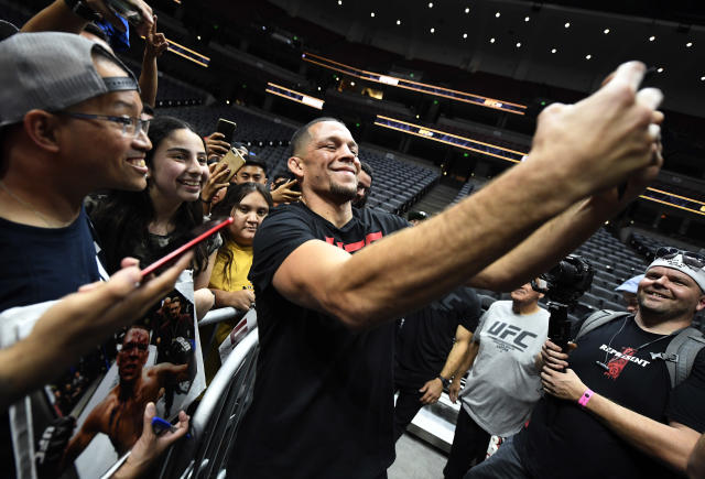 Nate Diaz takes a selfie with fans after holding an open workout for fans and media at Honda Center on Aug. 14, 2019, in Anaheim, California. (Zuffa LLC)