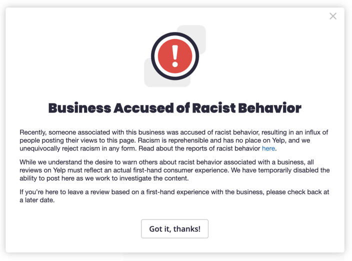 Yelp's new alert flags businesses that have been accused of racist behavior. (Yelp)