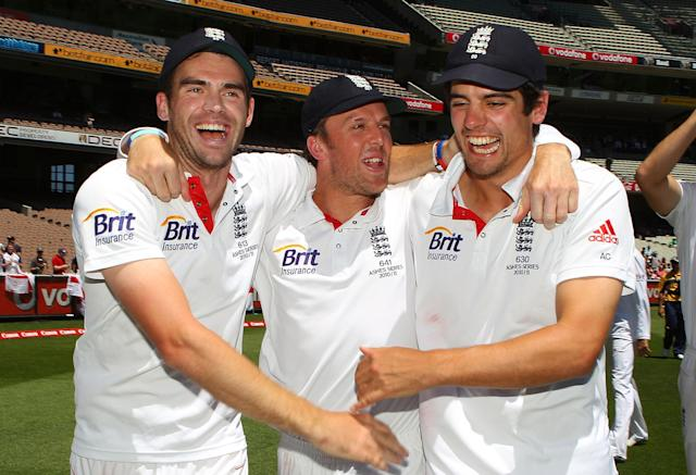 <p>Pictured celebrating England's win at Melbourne, which saw them retain the Ashes, Cook scored 189 in the final Test at Sydney as Strauss' side completed a series victory. Cook scored 766 runs in the series. (Getty Images) </p>
