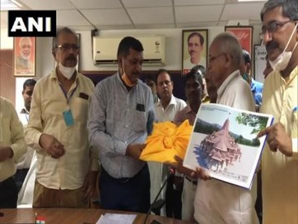 Ayodhya Development Authority handed over the design of Ram temple to the Trust members. Photo/ANI