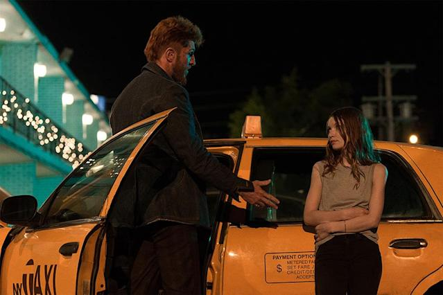 <p>Pablo Schreiber as Mad Sweeney and Emily Browning as Laura Moon in Starz's <i>American Gods</i>.<br><br>(Photo: Starz) </p>