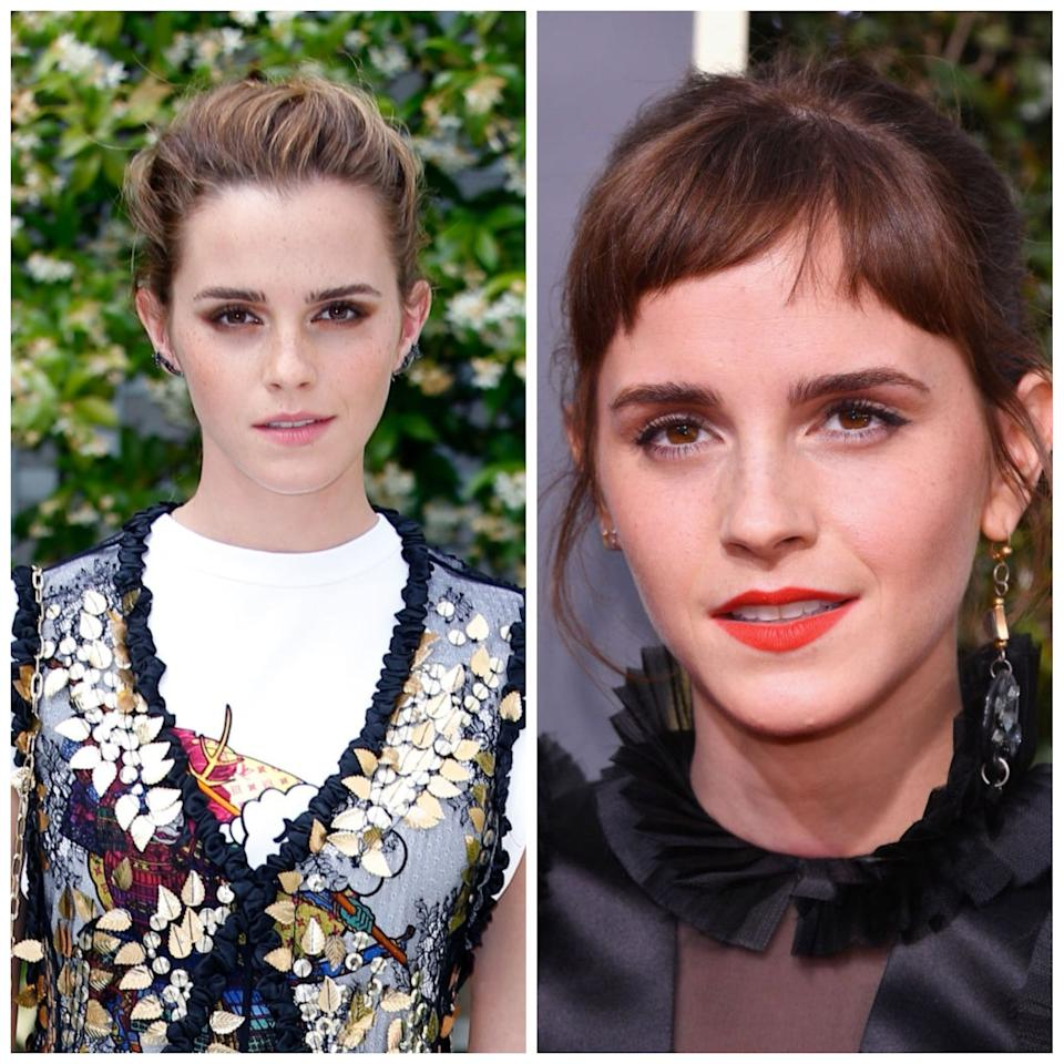 <p><strong>When: </strong>6 January 2018<br />From the famous pixie cut to her middle-parted tresses come the early noughties, Emma Watson is no stranger to switching up her hair. So fans were thrilled when the actress debuted her new cropped fringe on social media at the Bafta Tea Party. We even managed to sneak a closer look when Watson graced the red carpet at the 2018 Golden Globe Awards… <em>[Photo: Getty]</em> </p>