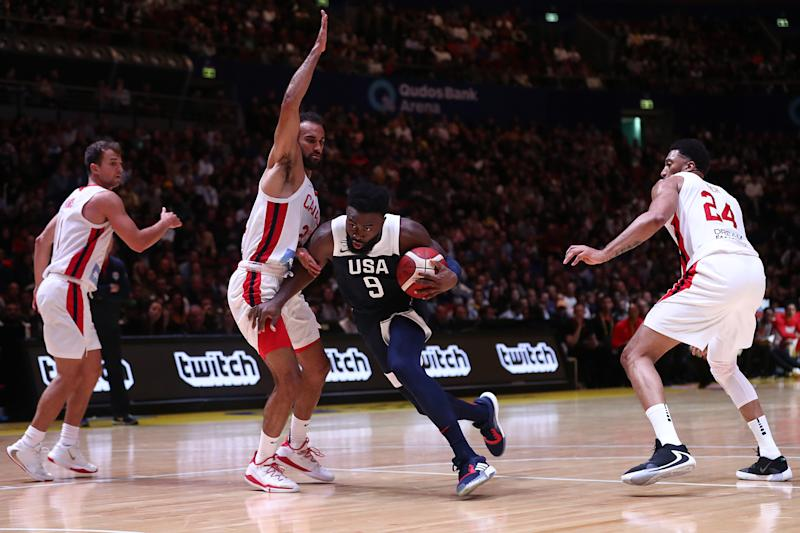 SYDNEY, AUSTRALIA - AUGUST 26: Jaylen Brown of the USA drives to the basket during the International Friendly Basketball match between Canada and the USA at Qudos Bank Arena on August 26, 2019 in Sydney, Australia. (Photo by Mark Metcalfe/Getty Images)