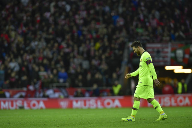 FC Barcelona's Leonel Messi, leaves the pitch at the end of the match during the Spanish La Liga soccer match between Athletic Bilbao and FC Barcelona at San Mames stadium, in Bilbao, northern Spain, Sunday, Feb. 10, 2019. FC Barcelona tied the match 0-0. (AP Photo/Alvaro Barrientos)