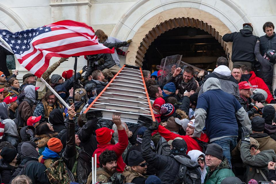 Rioters with a big ladder try to enter the US Capitol.