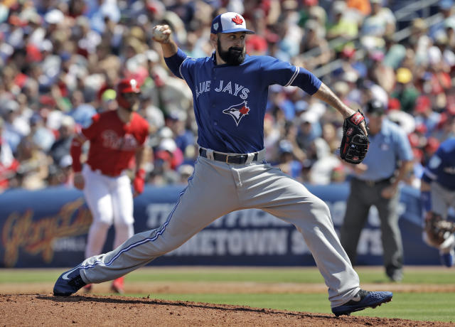 Toronto Blue Jays pitcher Matt Shoemaker delivers to the Philadelphia Phillies during the second inning of a spring training baseball game Saturday, March 9, 2019, in Clearwater, Fla. (Chris O'Meara/AP)