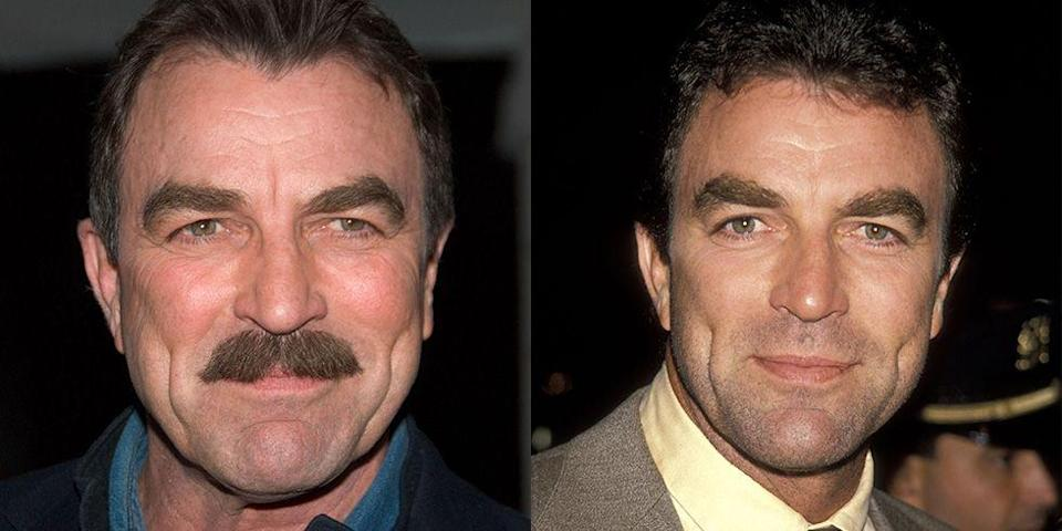 <p><strong>Signature: </strong>A thick chevron mustache </p><p> <strong>Without Signature: </strong>At a 1990 film premiere sporting a very bare upper lip.</p>